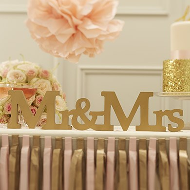 Wooden Mr and Mrs Sign Gold