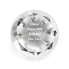 Crystal Diamond Paperweight Personalized