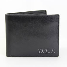 Black Leather Wallet Personalized