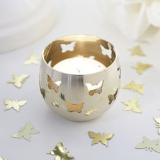 Gold Butterfly Detail Metal Tea Light Candle Holder