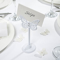 White Butterfly Place Card Holder