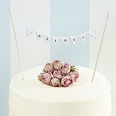 Vintage Lace Mr & Mrs Cake Topper Bunting