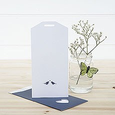 White and Navy Eco Chic Birds Design Large Insert Tag - 10 Pack