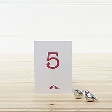 White and Red Eco Chic Birds Design Table Numbers 1-15