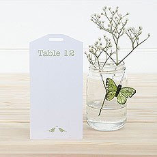 White and Gold Eco Chic Birds Design Table Plan Tags 1-16