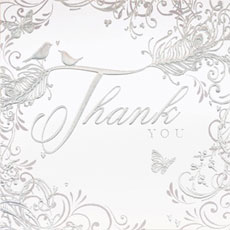 Enchanting Feather Design Thank You Cards - 6 Pack