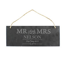 Mr & Mrs Personalized Slate Door Plaque