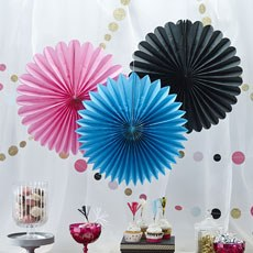 Confetti Party - Wall Fan Decorations - 3 Pack