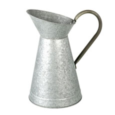 Silver Galvanized Metal Pitcher