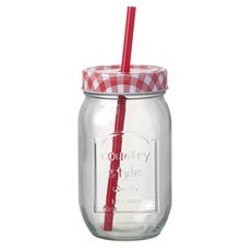 Glass Mason Jar with Gingham Lid