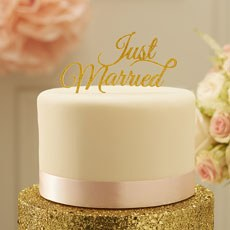 Just Married Cake Topper - Gold