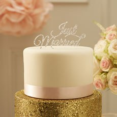 Just Married Cake Topper - Silver
