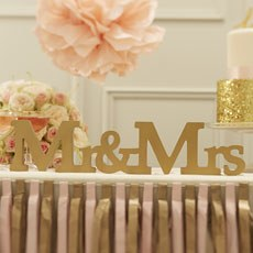Wooden Mr and Mrs Sign - Gold