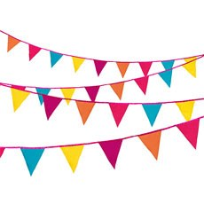 Bright Multi-Colored Fabric Bunting