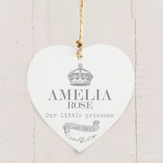 Personalized Royal Crown Wooden Heart Decoration
