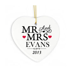 Personalized Mr & Mrs Ceramic Heart Decoration