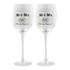 Contemporary Mr & Mrs Wine Glass Set