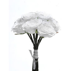Artificial White Rose Bouquet Short Stem