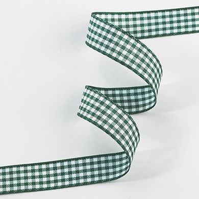 Gingham Ribbon 15mm - Green & White