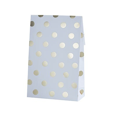 White and Gold Polka Dot Sweetie Bag - 8 Pack