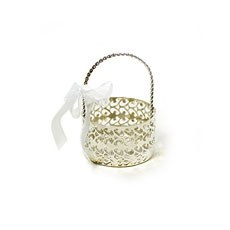Silver Filigree Metal Cut Out Favor Basket