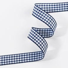 Gingham Ribbon 15mm - Navy Blue & White