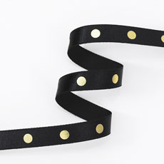 Gingham Ribbon 15mm - Black & Gold