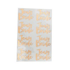 Rose Gold Team Bride Temporary Tattoo's - 16 Pack