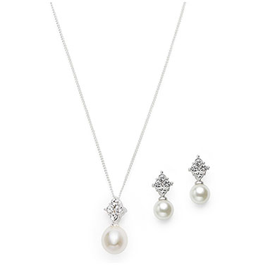 Pearl Drop Pendant & Earrings Set With Gift Box