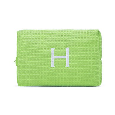 Large Cotton Waffle Cosmetic Bag Lime