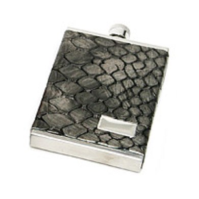 3 oz. Genuine Italian Leather Flask Metallic Gray Croc