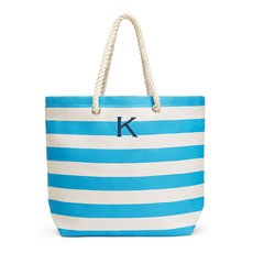 Extra Large Wide Stripe Cabana Tote - Sky Blue