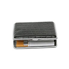 Croc Leather Cigarette Case - Black