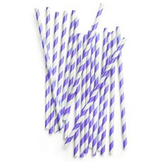 Striped Paper Straws - Purple