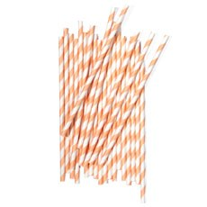 Striped Paper Straws - Orange Sherbert