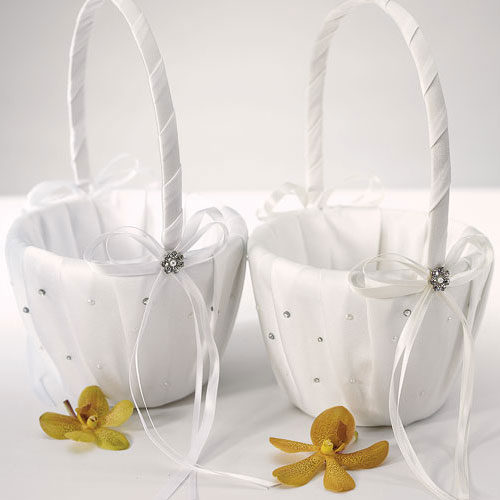 Flower girl baskets free shipping : Scattered pearls crystals flower girl basket confetti