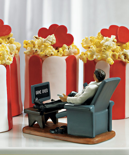 Comical Couch Potato Groom Funny Wedding Cake Topper Figurine