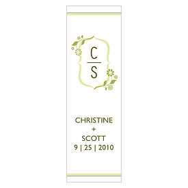 floral monogram small rectangular wedding tag stationery