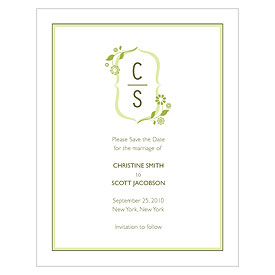 floral monogram wedding save the date stationery