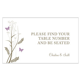 Romantic Butterfly Wedding Reception Escort Table Sign Card