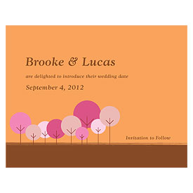 round tree wedding save the date stationery