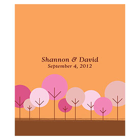 round tree rectangular wedding label stationery