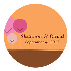 round tree large wedding sticker stationery