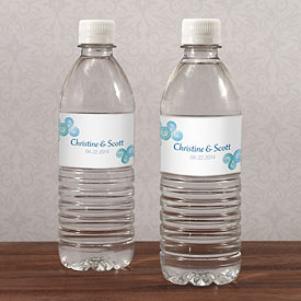 Sea Breeze Wedding Water Bottle Label