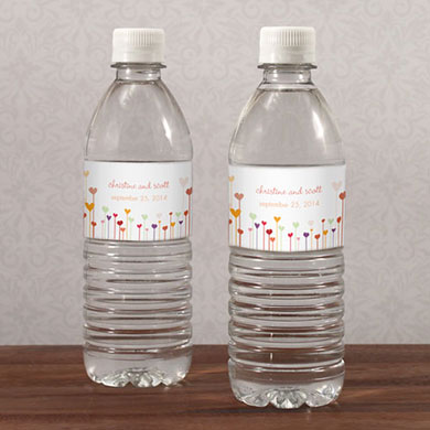 Hearts Water Bottle Labels
