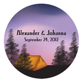 Camping Small Wedding Favor Sticker