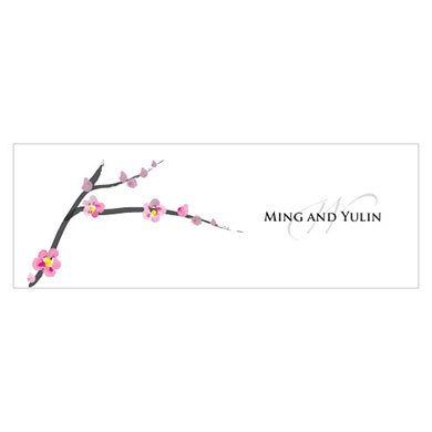 Cherry Blossom Small Rectangular Wedding Favor Tag