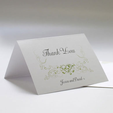 Heart Filigree Wedding Thank You Card
