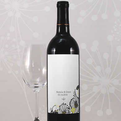 Floral Fusion Wedding Wine Bottle Label
