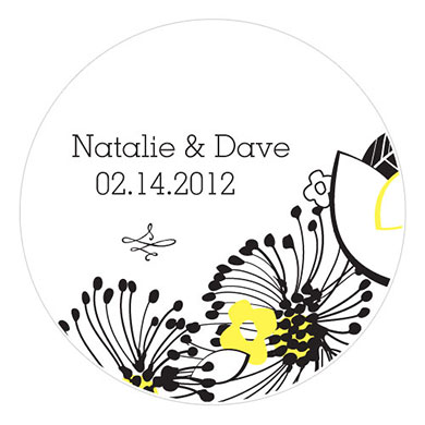 Floral Fusion Small Wedding Favor Sticker